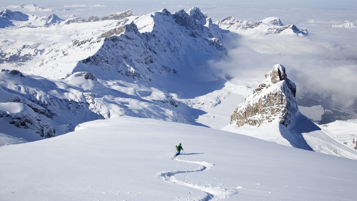 swiss alps skiing
