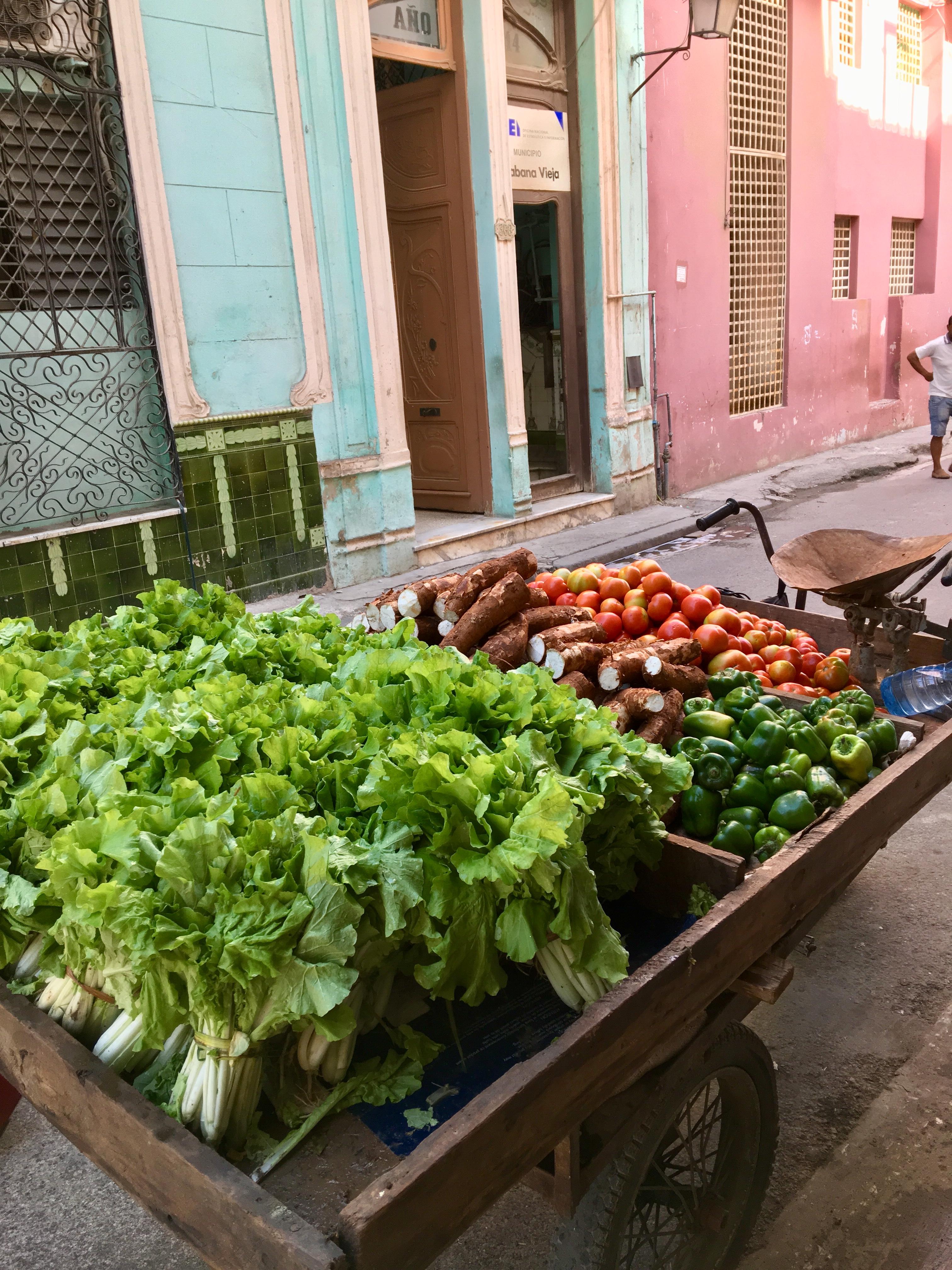 cart of lettuce