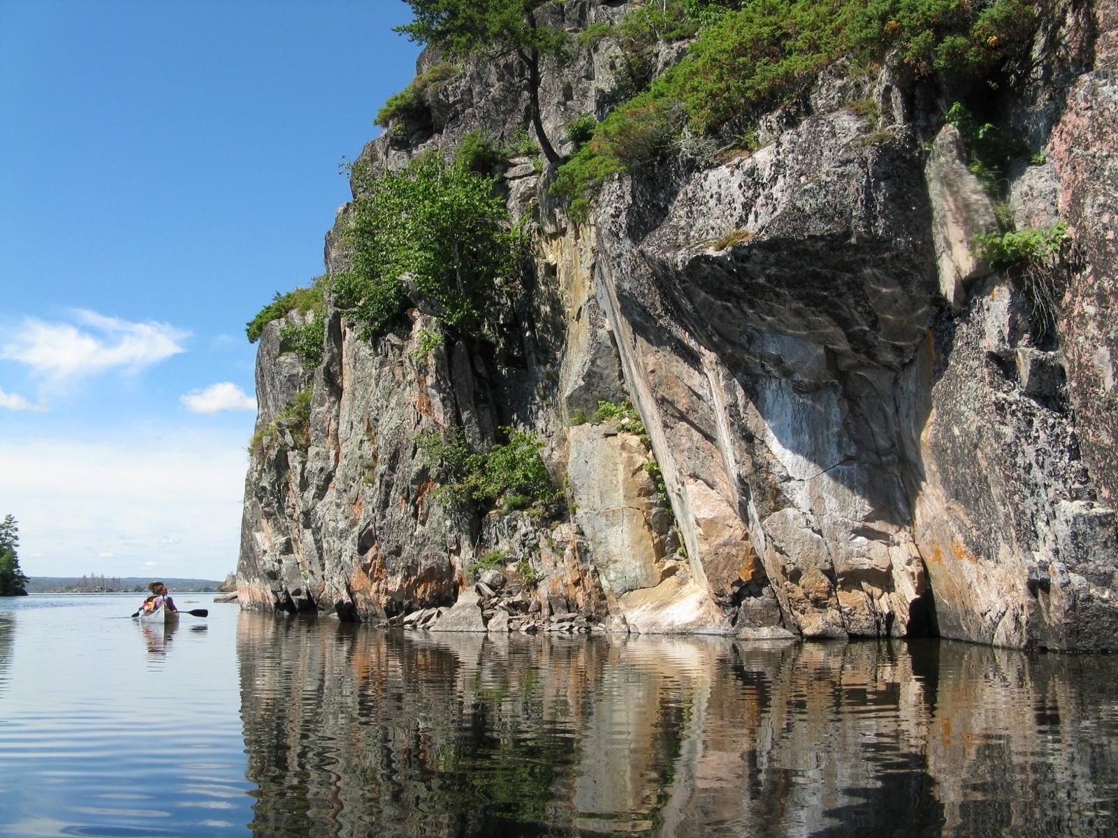 big rock and canoe